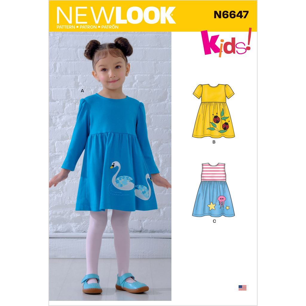 New Look Sewing Pattern N6647 Toddlers Dresses with Appliques 6647 Image 1 From Patternsandplains.com