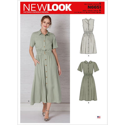 New Look Sewing Pattern N6651 Misses Button Front Dress With Elastic Waist 6651 Image 1 From Patternsandplains.com