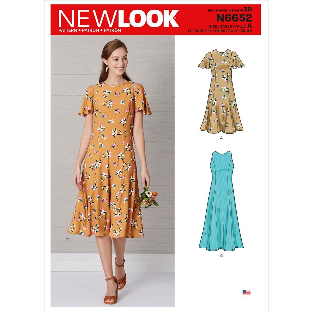 New Look Sewing Pattern N6652 Misses Fit and Flared Dress With Length and Sleeve Variations 6652 Image 1 From Patternsandplains.com