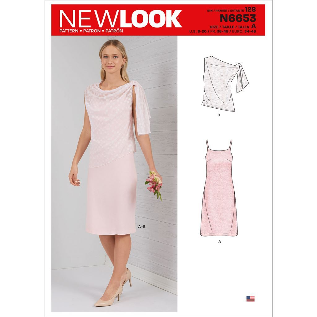 New Look Sewing Pattern N6653 Misses Dress With Shoulder Tie Topper 6653 Image 1 From Patternsandplains.com