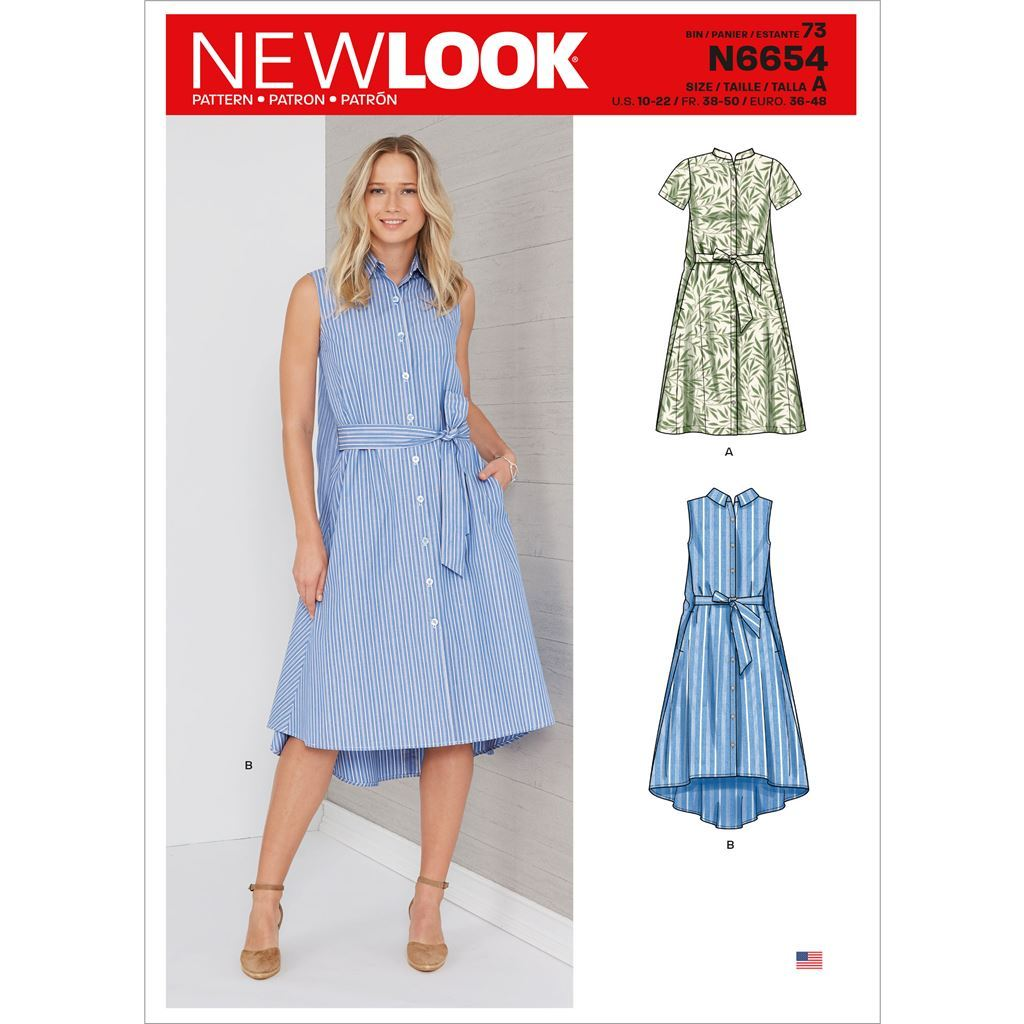 New Look Sewing Pattern N6654 Misses Shirt Dress With Flared Back 6654 Image 1 From Patternsandplains.com