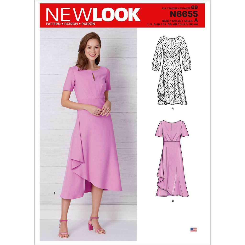 New Look Sewing Pattern N6655 Misses Dress In Two Lengths With Sleeve Variations 6655 Image 1 From Patternsandplains.com