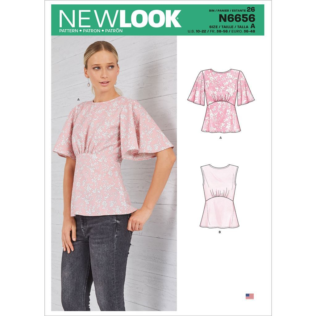 New Look Sewing Pattern N6656 Misses Top With Optional Black Opening and Flared Sleeves 6656 Image 1 From Patternsandplains.com