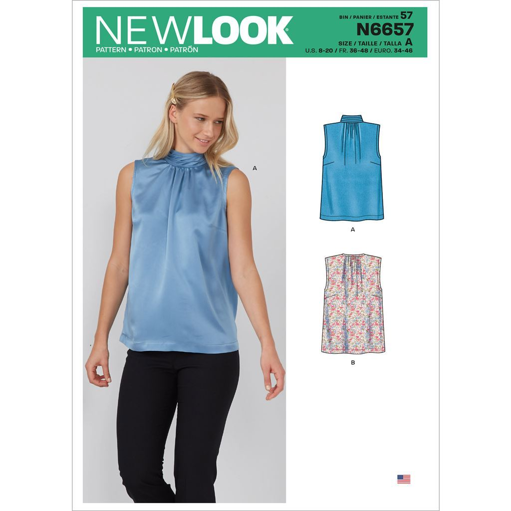New Look Sewing Pattern N6657 Misses Shell Top With or Without Pleated Neckband and Back Bow 6657 Image 1 From Patternsandplains.com
