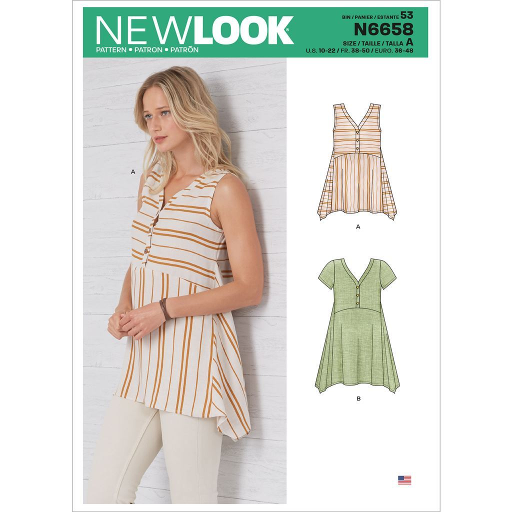 New Look Sewing Pattern N6658 Misses Handkerchief Hemmed Top 6658 Image 1 From Patternsandplains.com