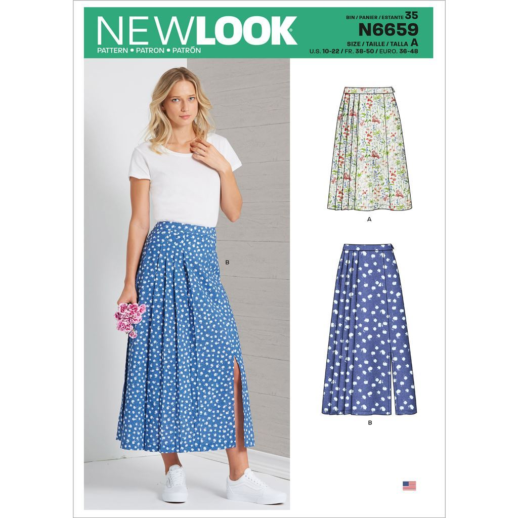 New Look Sewing Pattern N6659 Misses Pleated Skirt With Or Without Front Slit Opening 6659 Image 1 From Patternsandplains.com