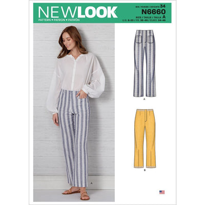New Look Sewing Pattern N6660 Misses High Waisted Flared Pants In Two Lengths 6660 Image 1 From Patternsandplains.com