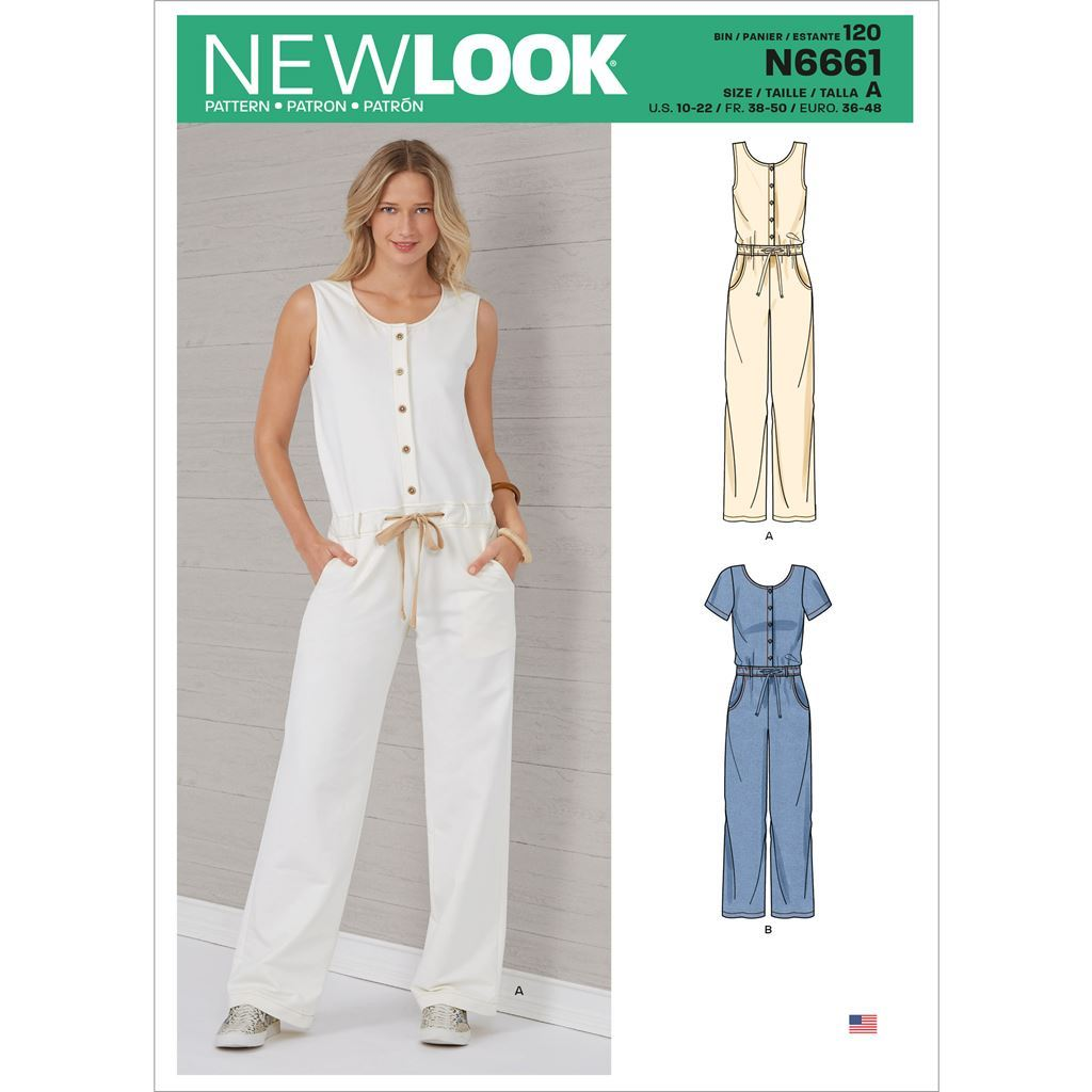 New Look Sewing Pattern N6661 Misses Relaxed Fit Jumpsuit With Drawstring Waist 6661 Image 1 From Patternsandplains.com