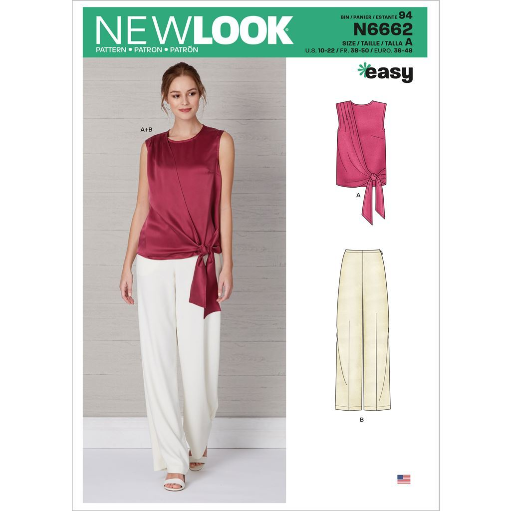 New Look Sewing Pattern N6662 Misses Drape Top and Wide Leg Pants 6662 Image 1 From Patternsandplains.com