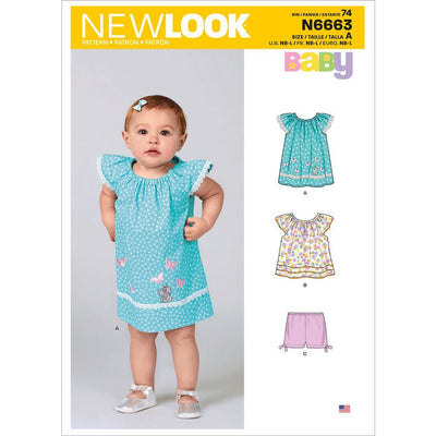 New Look Sewing Pattern N6663 Infants Dress Top With Appliques and Trims and Pants With Bows At Hem 6663 Image 1 From Patternsandplains.com