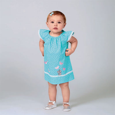 New Look Sewing Pattern N6663 Infants Dress Top With Appliques and Trims and Pants With Bows At Hem 6663 Image 2 From Patternsandplains.com