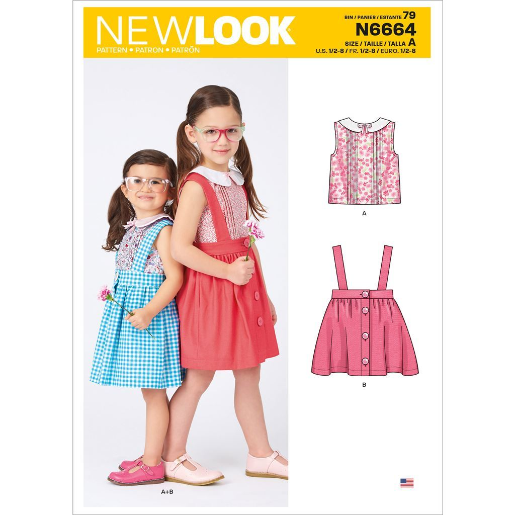 New Look Sewing Pattern N6664 Toddlers and Childrens Skirts With Shoulder Straps and Peter Pan Blouse 6664 Image 1 From Patternsandplains.com