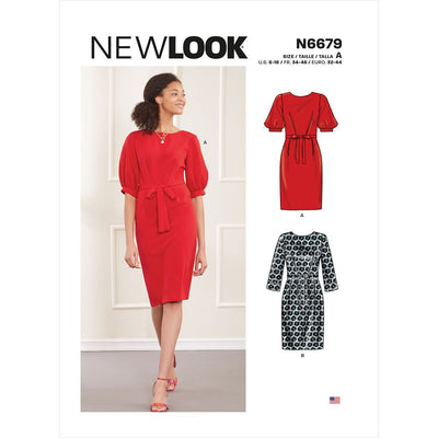 New Look Sewing Pattern N6679 Misses Knee Length Dress With Sleeve Variations 6679 Image 1 From Patternsandplains.com