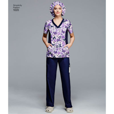 Simplicity Pattern 1020 Womens and Plus Size Scrubs Image 1 From Patternsandplains.com