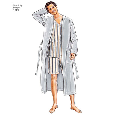 Simplicity Pattern 1021 Mens Classic Pajamas and Robe Image 1 From Patternsandplains.com