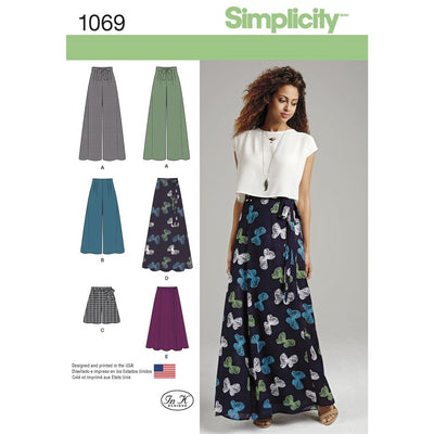 Simplicity Pattern 1069 Womens Wide Leg Trousers or Shorts and Skirts in 2 Lengths Image 1 From Patternsandplains.com