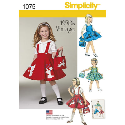 Simplicity Pattern 1075 Childs Jumper Skirt and Bag Image 1 From Patternsandplains.com