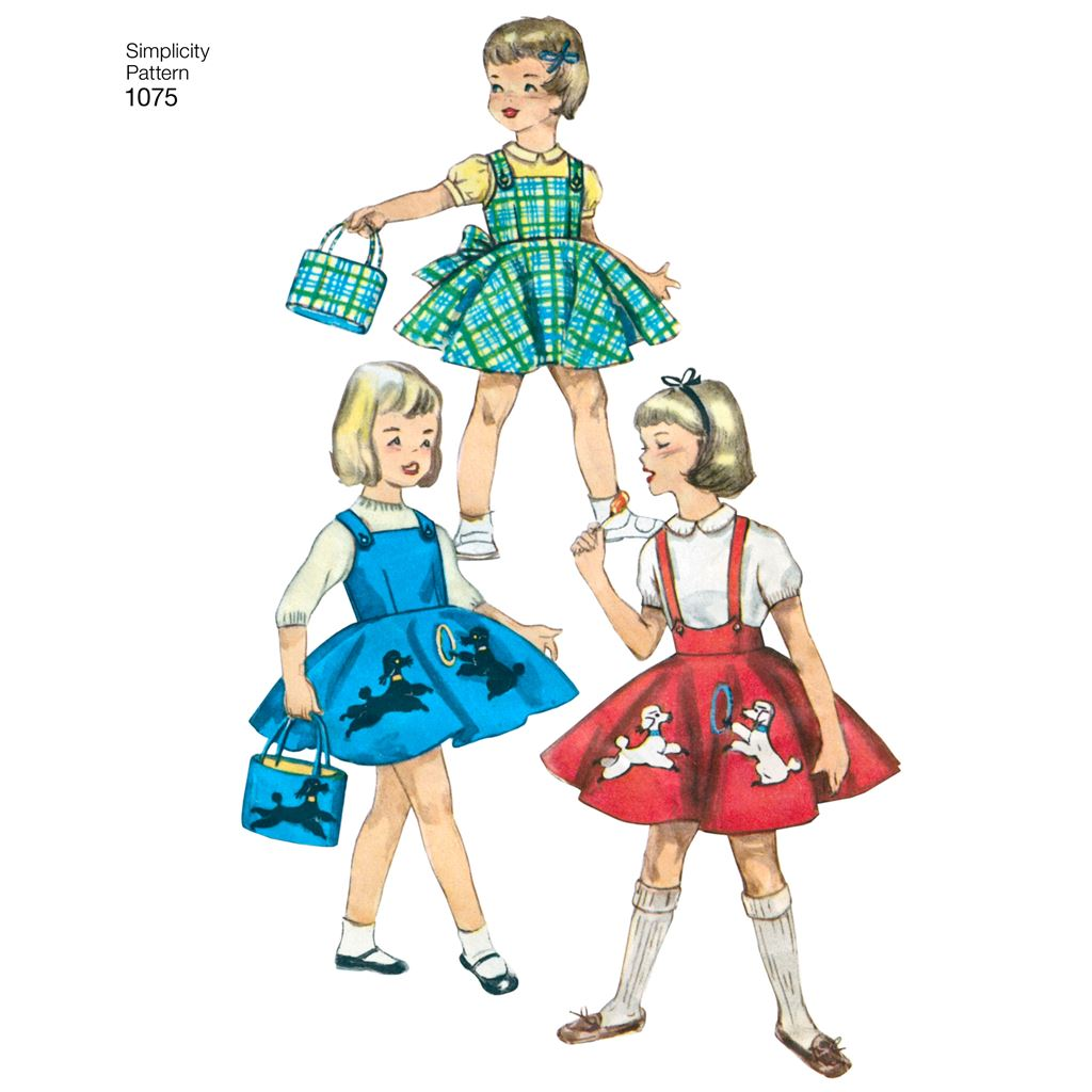 SIMPLICITY 1075 Childs Jumper 3-4-5-6-7-8 Size A Skirt /& Bag Sewing Template