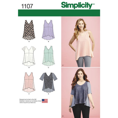 Simplicity Pattern 1107 Womens Tops with Fabric Variations Image 1 From Patternsandplains.com