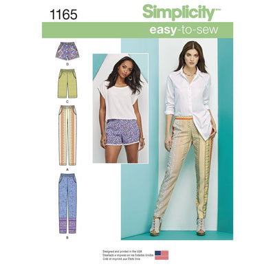 Simplicity Pattern 1165 Womens Pull on Trousers Long or Short Shorts Image 1 From Patternsandplains.com