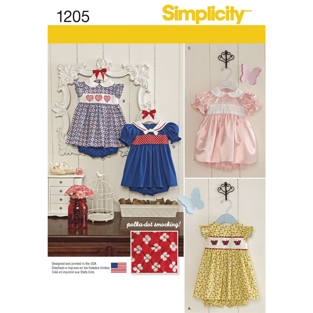 Simplicity Pattern 1205 Babies Dress and Panties Image 1 From Patternsandplains.com