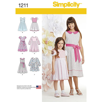 Simplicity Pattern 1211 Childs and Girls Dress in two lengths Image 1 From Patternsandplains.com
