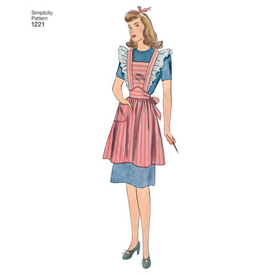 Simplicity Pattern 1221 Womens Vintage Aprons Image 1 From Patternsandplains.com