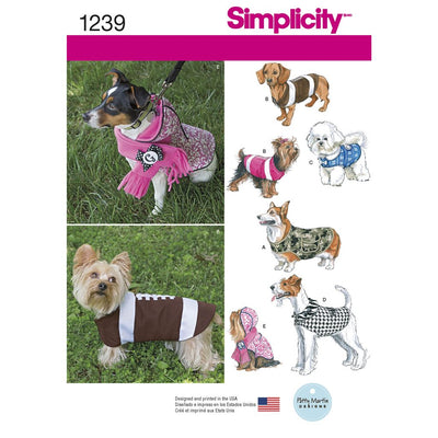 Simplicity Pattern 1239 Dog Coats in Three Sizes Image 1 From Patternsandplains.com