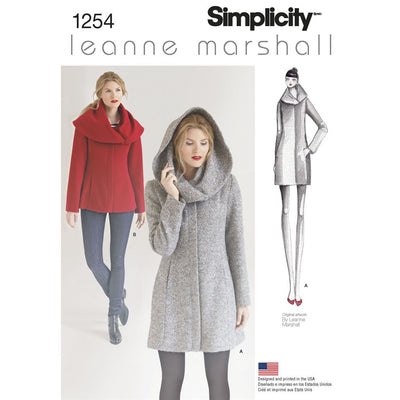Simplicity Pattern 1254 Womens Leanne Marshall Easy Lined Coat or Jacket Image 1 From Patternsandplains.com