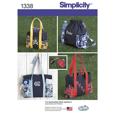 Simplicity Pattern 1338 Tote Bags in Three Sizes Backpack and Coin Purse Image 1 From Patternsandplains.com