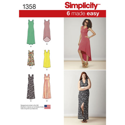 Simplicity Pattern 1358 Womens Knit Dresses with Length and Neckline Variations Image 1 From Patternsandplains.com