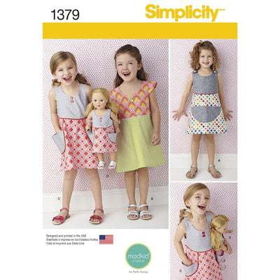 Simplicity Pattern 1379 Childs Dress and Dress for 18 Doll Image 1 From Patternsandplains.com