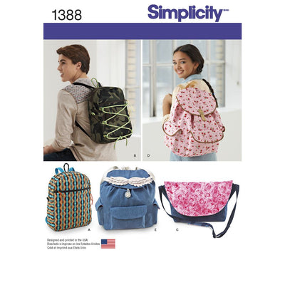 Simplicity Pattern 1388 Backpacks and Messenger Bag Image 1 From Patternsandplains.com
