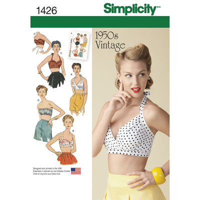 Simplicity Pattern 1426 Womens Vintage 1950s Bra Tops Image 1 From Patternsandplains.com