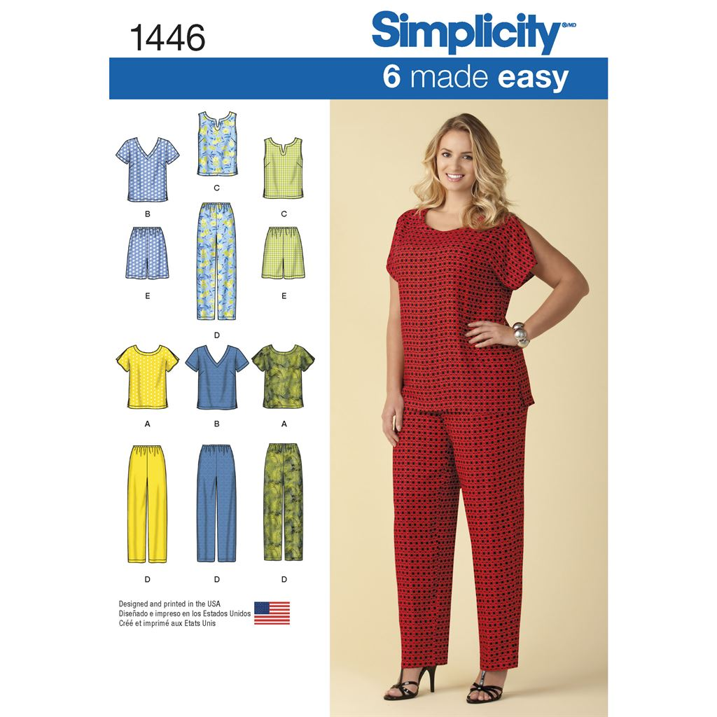 Simplicity Pattern 1446 Six Made Easy Pull on Tops and Trousers or Shorts for Plus Size Image 1 From Patternsandplains.com