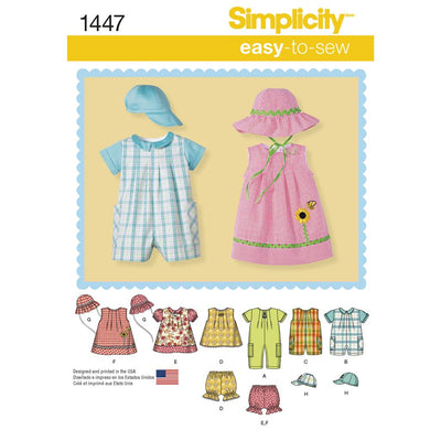 Simplicity Pattern 1447 Babies Romper Dress Top Panties and Hats Image 1 From Patternsandplains.com