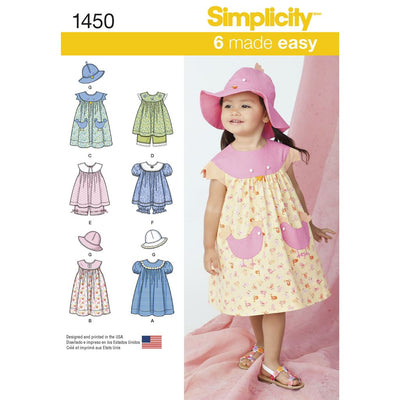 Simplicity Pattern 1450 Toddlers Dress Top Panties and Hat Image 1 From Patternsandplains.com