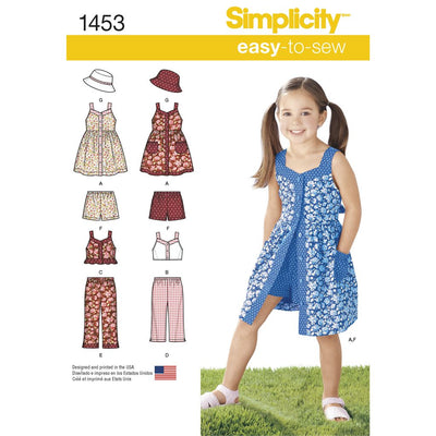 Simplicity Pattern 1453 Childs Dress Top Trousers or Shorts and Hat Image 1 From Patternsandplains.com