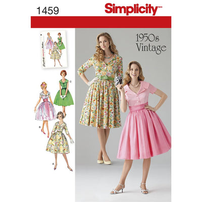 Simplicity Pattern 1459 Womens and Petite 1950s Vintage Dress Image 1 From Patternsandplains.com