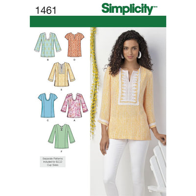 Simplicity Pattern 1461 Womens and Plus Tunic with Neckline and Sleeve Variations Image 1 From Patternsandplains.com