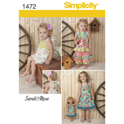 Simplicity Pattern 1472 Toddlers Romper Dress Top Trousers and 18 Doll Dress Image 1 From Patternsandplains.com