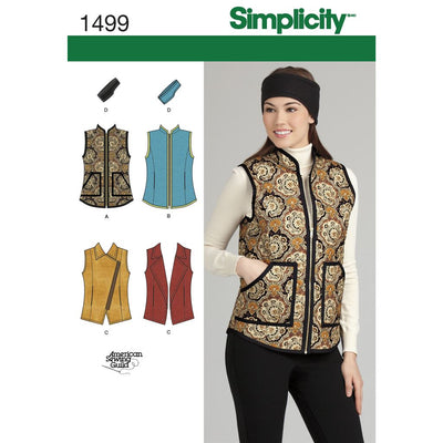 Simplicity Pattern 1499 Womens Vest and Headband in Three Sizes Image 1 From Patternsandplains.com