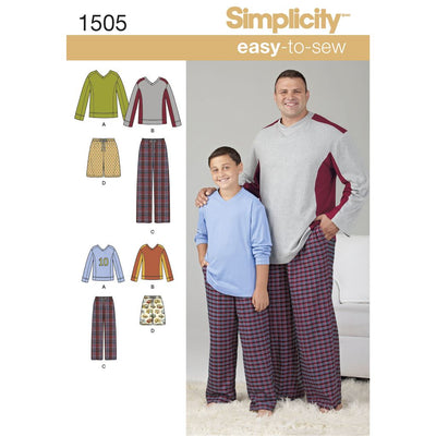 Simplicity Pattern 1505 Husky Boys and Big and Tall Mens Tops and Trousers Image 1 From Patternsandplains.com