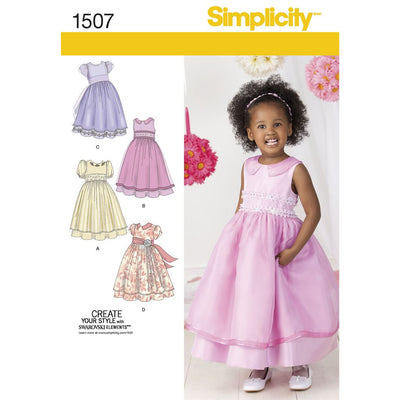 Simplicity Pattern 1507 Toddlers and Childs Special Occasion Dress Image 1 From Patternsandplains.com