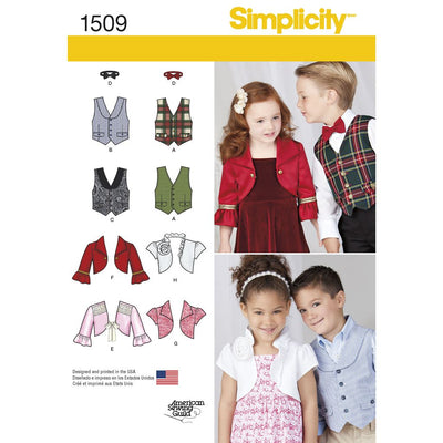 Simplicity Pattern 1509 Childs Vest Bolero and Bow Tie Image 1 From Patternsandplains.com
