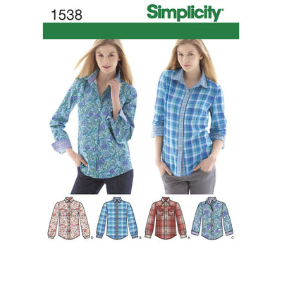 Simplicity Pattern 1538 Womens Button Front Shirt sizes 6 22 Image 1 From Patternsandplains.com