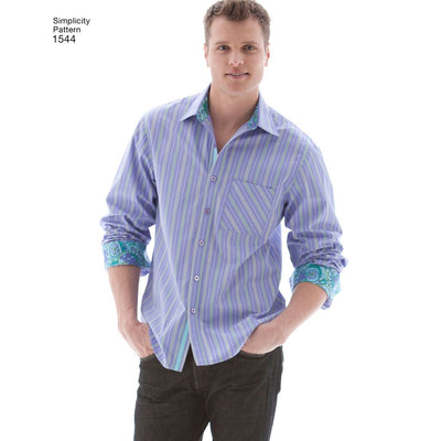 Simplicity Pattern 1544 Mens Shirt with Fabric Variations Image 1 From Patternsandplains.com