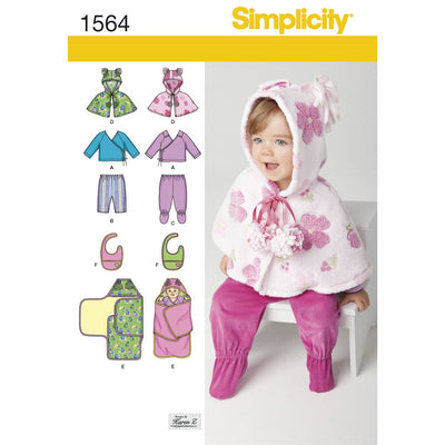 Simplicity Pattern 1564 Babies Top Trousers Bib and Blanket Wrap Image 1 From Patternsandplains.com