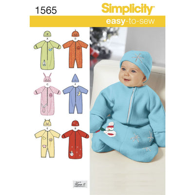 Simplicity Pattern 1565 Babies Bunting Romper and Hats Image 1 From Patternsandplains.com