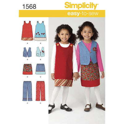 Simplicity Pattern 1568 Childs Jumper Vest Trousers and Skirt Image 1 From Patternsandplains.com